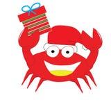 Il granchio rosso ha messo felice del contenitore di cappello e di regalo di natale isolato Fotografie Stock