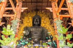 Il grande Buddha al tempio di Todai-ji a Nara, Giappone Immagini Stock Libere da Diritti