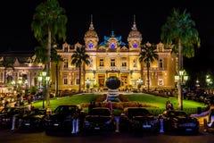 Il grande casinò Monte Carlo alla notte monaco Fotografia Stock Libera da Diritti