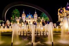 Il grande casinò Monte Carlo alla notte monaco Fotografie Stock Libere da Diritti