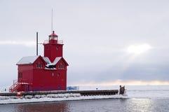 Il grande colore rosso - faro in Olanda, MI Fotografia Stock Libera da Diritti