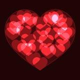 Il grande cuore rosso ha reso a forma i piccoli cuori del neon del bokeh Immagine Stock
