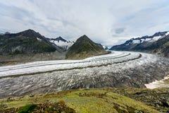 Il grande ghiacciaio di Aletsch Immagine Stock Libera da Diritti
