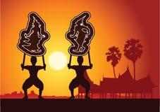 Il grande gioco di ombra Arte tailandese del burattino dell'ombra della Tailandia Silhou illustrazione vettoriale