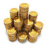 Il grande gruppo di casinò dell'oro scheggia su bianco Immagine Stock
