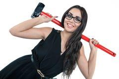 Il grande hummer è l'arma della donna di affari Fotografie Stock