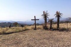 Il grande incrocio di legno in arido asciuga il paesaggio Fotografie Stock Libere da Diritti