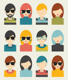 Il grande insieme degli avatar profila le icone piane delle immagini Fotografia Stock