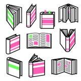 Il grande insieme del profilo nero alla moda prenota nelle posizioni differenti con gli elementi rosa e verdi variopinti Fotografia Stock