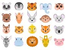 Il grande insieme di vettore degli animali svegli affronta il piano dell'icona Fotografie Stock