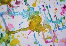 Il grande inverno scintillante accende la pittura viva dell'acquerello della cera verde blu grigia dell'oro, tonalità variopinte Fotografie Stock Libere da Diritti