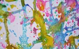 Il grande inverno scintillante accende la pittura viva dell'acquerello della cera verde blu dell'oro, tonalità variopinte Fotografia Stock Libera da Diritti