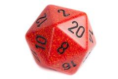 Il grande marmo arancione d20 muore Immagini Stock