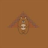 Il grande orso amichevole Cartolina con una relazione un fondo marrone Struttura decorativa di vettore Fotografia Stock