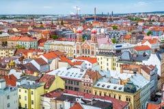 Il grande paesaggio urbano di Plzen e della sinagoga Repubblica ceca Fotografia Stock