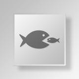 il grande pesce 3D mangia il piccolo concetto di affari dell'icona del pesce Immagini Stock