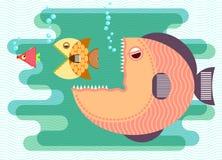 Il grande pesce mangia il piccolo pesce Immagine Stock