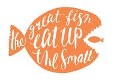 Il grande pesce mangia sulla piccola iscrizione fotografia stock libera da diritti