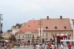 Il grande quadrato (Piata Mare), Sibiu Immagine Stock Libera da Diritti