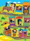 Il grande treno del fumetto scherza su un viaggio - illustrazione per i bambini Fotografia Stock Libera da Diritti