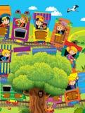 Il grande treno del fumetto scherza su un viaggio - illustrazione per i bambini Fotografia Stock