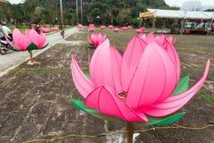 Il grande uomo ha reso a loti rosa vicino a Trang un complesso del paesaggio con la montagna nei precedenti di estate in Ninh Bin immagini stock
