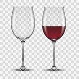 Il grande vino rosso di vetro svuota e nessuno fotografia stock