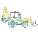 Il grande zappatore del profilo giallo blu costruisce le strade su bianco Immagine Stock Libera da Diritti