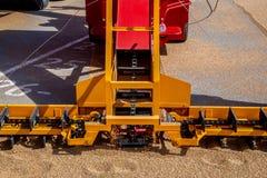 Il grano afferrante da asfalto sorge dalle ruspe spianatrici del caricatore del grano del trasportatore Fotografie Stock