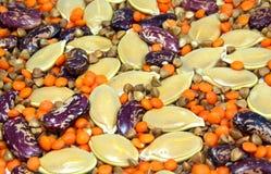 il grano saraceno delle lenticchie dei fagioli semina la zucca fotografie stock
