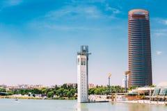 Il grattacielo dell'ufficio è più alta costruzione in Siviglia Fotografie Stock