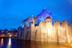 Il Gravensteen nella città di Gand nel Belgio Fotografie Stock