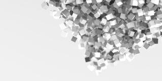 Il gray astratto cuba il fondo tridimensionale Fotografia Stock Libera da Diritti