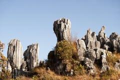 Il grey bianco ha colorato le rocce diritte alte su una collina Immagine Stock