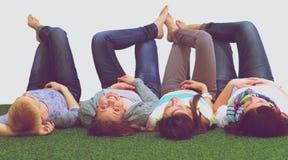 Il gruppo allegro felice di giovani amici gode di insieme Fotografia Stock Libera da Diritti