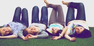 Il gruppo allegro felice di giovani amici gode di insieme Immagine Stock Libera da Diritti