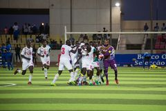 Il gruppo del ` s del Senegal celebra la vittoria Immagini Stock