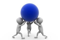 il gruppo dell'uomo 3d porta il concetto della palla Fotografia Stock