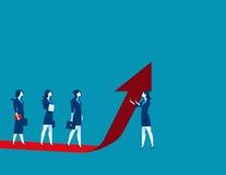 Il gruppo della donna di affari si alza sulla freccia rossa illustrazione di stock