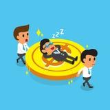 Il gruppo di affari del fumetto che porta il grande capo di affari ma della moneta cade addormentato Fotografia Stock Libera da Diritti