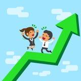 Il gruppo di affari di concetto di affari è felice su una freccia verde Fotografie Stock Libere da Diritti