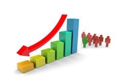 Il gruppo di affari giù tende il diagramma a colonna Immagini Stock