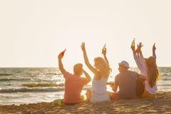 Il gruppo di amici gioca sulla spiaggia fotografia stock libera da diritti