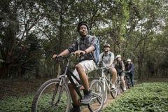 Il gruppo di amici guida insieme il mountain bike nella foresta Fotografie Stock Libere da Diritti