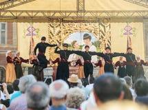Il gruppo di ballerini georgiani che ballano un folclore balla Fotografia Stock Libera da Diritti