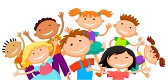 Il gruppo di bambini dei bambini sta saltando il carattere divertente di vettore del fondo del fumetto bianco allegro del bunner  Fotografia Stock