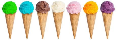 Il gruppo di cono della coppa gelato del ripartitore di estate del gelato di fila è Immagini Stock Libere da Diritti