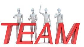 Il gruppo di gente 3d che sta accanto alla parola team immagine 3d Fotografia Stock