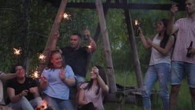 Il gruppo di giovani amici sta cantando le canzoni intorno ad un fuoco di accampamento stock footage