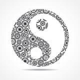 Il gruppo di ingranaggio fa il simbolo di yang e ying illustrazione vettoriale